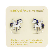 Unicorn clip on earrings - with personalised gift tag and beautiful bag