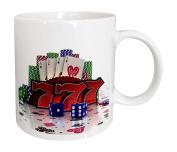 3dRose mug_155012_2 Casino Concept with Poker Cards Chips Dice and Slot Style Sevens Ceramic Mug, 440ml, White