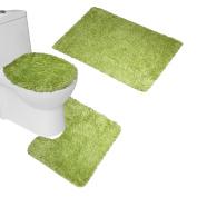 Bearbae 3 Piece Shaggy Soft Microfiber Bath Mats Set (Large Mat + Contour Mat + Toilet Lid )