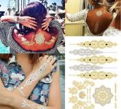 Hosaire 1X Luxury Premium Quality Gold Body and Hair and Henna Metallic Temporary Tattoo Sheet DIY Metal Flash Tattoo Stickers