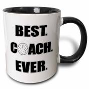 3dRose mug_195231_4 Volleyball Best Coach Ever Two Tone Black Mug, 330ml, Black/White