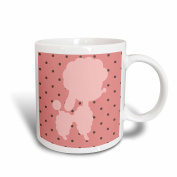 3dRose mug_165494_1 Pink Poodle With Raspberry and Chocolate Chips Ceramic Mug, 330ml, White