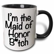 3dRose mug_178115_4 I'm The Maid of Honour Btch, Black Two Tone Black Mug, 330ml, Black/White