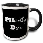 3dRose PHD, Phinally done - Two Tone Black Mug, 330ml (mug_216379_4), 330ml, Black/White