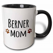3dRose Berner Mom Bernese Mountain Dog Doggie By Breed Brown Muddy Paw Prints Doggy Lover Pet Owner Two Tone Black Mug, 330ml, Black/White
