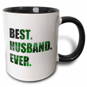 3dRose Best Husband Ever - cut out of green computer chip microchip graphic - Two Tone Black Mug, 330ml (mug_179728_4), 330ml, Black/White