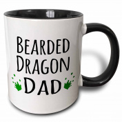 3dRose 3dRose Bearded Dragon Dad - for lizard and reptile enthusiasts and pet owners - with green footprints - Two Tone Black Mug, 330ml (mug_154023_4), , Black/White