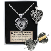 Pewter and Brass Cremation Heart Pendant Necklace - Pets