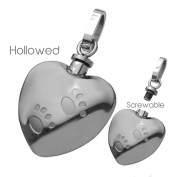 Stainless Steel Pet Ashes Urn Pendant With Hollowed Inside And Screwable top