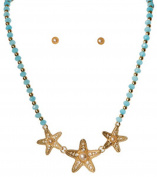 Gold Tone Starfish with Pearls and Turquoise Beads Necklace with Matching Studs Rai-ns3613tq
