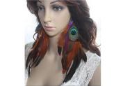 Feather Earrings for Women Orange Purple Peacock Feather Earrings