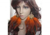 Feather Earrings for Women Orange Peacock Feather Earrings for Women
