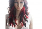 Red Long Feather Earrings for Women Natural Feather Earrings