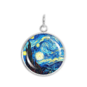 The Starry Night Van Gogh Painting 1.9cm Artwork Print Charm for Petite Pendant or Bracelet Silver Tone