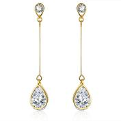 18K Gold Plated Cubic Zirconia Drop Earrings (3.9 cttw)