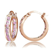 Sterling Silver Pink Cubic Zirconia Inside Out Channel-Set Round Hoop Earrings