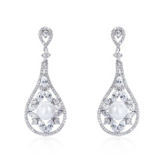 Wordless Love Elegant Marquise Shape Cubic Zirconia Women's Wedding Long Earrings with Pearl White