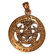 Copper Large Cut Moon Pentacle Pentagram Pendant Wiccan Pagan Jewellery