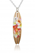 Painted Brass Surfboard Pendant Necklace, Wood Grain Plumeria Flowers, 46cm Sterling Silver Chain