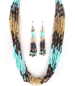 Accessory Accomplice Goldtone Turquoise Multi-Colour Seed Bead Multi-Strand Necklace & Earring Set