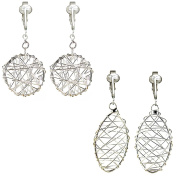 Silver Dreamcatchers Hoops Clip On Earrings for Non-pierced ears, Hand Wire-wrapped oval & round, clipon