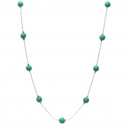 Simulated Turquoise Stone Illusion Station Sterling Silver Chain Necklace