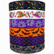 2.5cm 30yards (6 Mixed Lot) Halloween Holiday Ribbons Bats Spiders Pattern Printed Grosgrain Ribbon for Hair Bow Halloween Decorative Ribbons