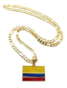 """Letter Love Hip Hop Colombia Flag Pendant 5Mm/24"""" Figaro Chain Rock Necklace"""