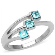 Women's Stainless Steel Aquamarine Princess Cut Cz Cocktail Ring, Size 5,6,7,8,9,10