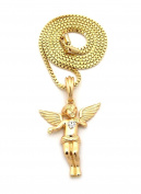 Letter Love Hip Hop Flying Baby Angel Micro Pendant & 60cm Box / 70cm Ball Chain Necklace