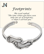 Footprints in the Sand Inspirational Hammered Cuff Bracelet with Prayer Card by Jewellery Nexus