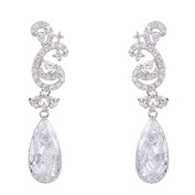 Wordless Love Rhodium Plated Full Pave Cubic Zirconia Teardrop Wedding Party Long Earrings White
