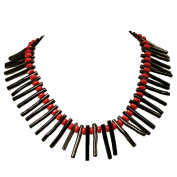005 Ny6design Black Coral Branch & Red Coral Rondelle Beads Long Necklace w/Silver Plated Clasp N16082601