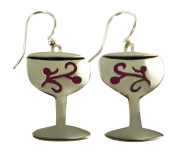 Cabernet Wine Glass Dangle Earrings with Cutout Detailing