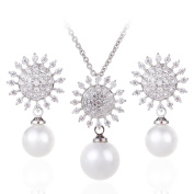 Wordless Love Vintage CZ with Pearl Drop Bridal Bridesmaids Necklace and Earrings Jewellery Set
