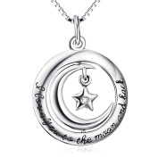"Sterling Silver ""I Love You to the Moon and Back"" Engraved Charm Crescent Star Pendant Necklace 46cm"