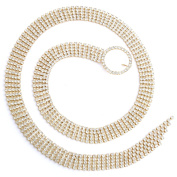 Womens Fashion Jewellery Bridal Belt Gold Crystal 5 Line Belt