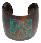 "Bronze Patina Tone Metal ""Count Your Many Blessings"" Quote Cuff Bracelet"