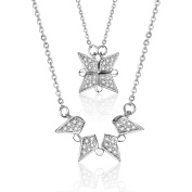 Silver-Tone 925 Sterling Silver Square Four point star Aggregate or Scatter Pattern Top Grade Arrow Heart Zircon Inlay Pendant Necklace 43cm Chain Jewellery