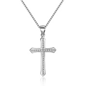 Silver-Tone 925 Sterling Silver Cross-Shaped Pattern Zirconia Cubic Inlay Pendant Necklace 41cm Chain Jewellery