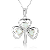925 Sterling Silver Mother of Pearl Shamrock Pendant Necklace 46cm for Women