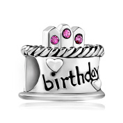 LovelyCharms 925 Sterling Silver Birthday Cake With Pink Birthstone Crystal Beads Fit Pandora Charm Bracelets