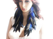 Natural Feather Earrings Blue Peacock Feather Earrings for Women