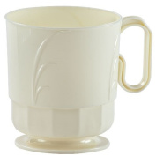 Hanna K. Signature Collection Elegance 40 Count Plastic Coffee Mug, 240ml, Ivory