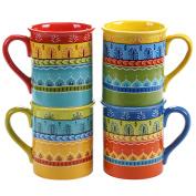 Certified International Valencia Mugs (Set of 4), 470ml, Multicolor