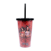 Silver Buffalo WWE WE24087 Bella Twins Double Trouble Lidded Cold Cup with Straw, 470ml, Red