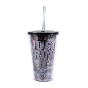 "Silver Buffalo WWE WE12087 The Rock ""Just Bring It"" Lidded Cold Cup with Straw, 470ml, Black"