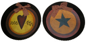 Craft Outlet Tin Heart and Star Plates, 24cm , Set of 2