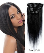 Uotp HairStraight Remy Human Hair Clip in Hair Extension 30cm , 8pcs/set, Colour #1B Off Black