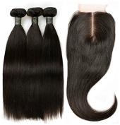"BLISSHAIR Virgin Human Hair Bundles with 3.5""×4"" Lace Closure Straight Wave"